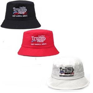 2020 Donald Trump Election Embroidery Cap Bucket Hats USA Printed Summer Sun Visor Sports Travel Beach Fisherman Hat Headgear New F91203