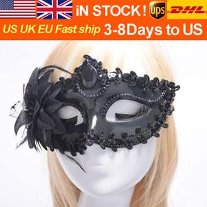Seeling caliente de Halloween danza Medio - Cara princesa fiesta de la mascarada de Venecia señora Lace Máscara lateral Pluma máscara del partido de la princesa máscara Nightcl