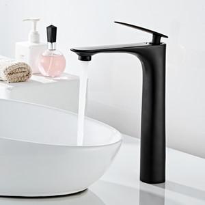 Negro moderno del lavabo del grifo de latón de aleación de zinc de mezclador del grifo de baño cubierta montó el grifo del lavabo del diseño elegante HOTBEST