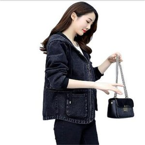 Fashion Spring Autumn New Women's Short Korean Jeans Loose Hooded Embroidery Casual Denim Jacket Coat Cowboy Tops Outwear