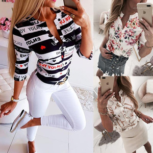 Shirt Designer Womens Shirt Fashion Printed Slim V Neck Blouses Summer Womens Pullover