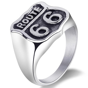 Fashion US Route 66 Ring For Men Motor Biker Men's Jewelry Vintage Retro Males Rings Stainless Steel