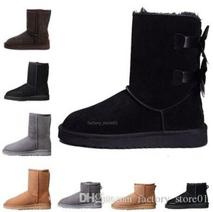 Designer Women Winter Snow Boots Fashion Australia Classic Short Bow Boots Ankle Knee Bow Girl Mini Bailey Boot 2020 Size 35-41 Free Ship