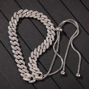 9mm Micro Pave Iced Out CZ Cuban Adjustable size Necklaces Chains Luxury Bling Bling Full Diamond Hiphop Jewelry For Men