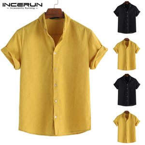 INCERUN Summer Fashion Men Shirt Striped Lapel Neck Loose Breathable Short Sleeve Tops Business Brand Shirts Men Camisa 5XL 200925
