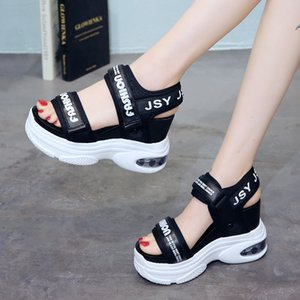 Woman Open Toe Outdoor Beach Shoes Dropshipping Super High Heels Wedges Sandals Women Summer Air Cushion Chunky Platform Shoes