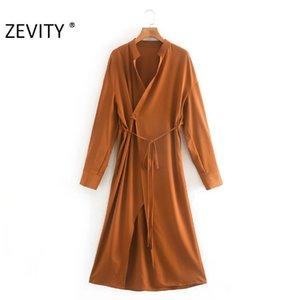 ZEVITY Новые женщины моды стенд воротник сплошной цвет случайным кимоно обернуть миди платье Женский лук связали Vestidos досуг платья DS4316