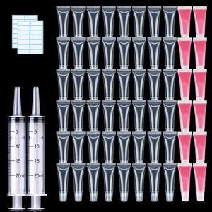 10ml atacado Batom vazio Tubo Com Seringa Limpar suave Lip Gloss Container recarregáveis Lipgloss tubos para DIY maquiagem cosméticos