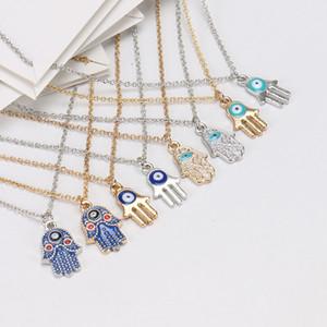 Venda quente mulheres prata ouro chapeado cadeia colar moda mau olho hamsa mão encantos pingente jóias com cartão de presente para mulheres