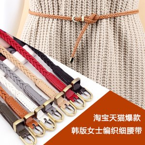 New Style Handmade Woven Leather Belt Women's Pin Buckle Korean-Style Retro Casual All-match Slender Belt Waist