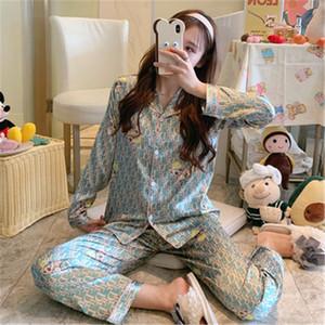 Casais pijamas novos Unisex Silk Flower Impresso Pijamas macia Pajama Define Mulheres Pajama Define Men manga comprida Salão Pijamas # 925