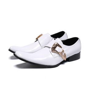Business Leisure Man Monk Bracelet Oxford Chaussures Cuir véritable formelles Carré Toe Shoes Slip sur des chaussures de mariage classique