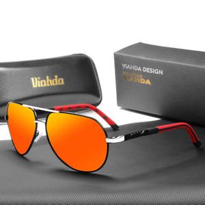 VIAHDA nova marca óculos polarizados Homens Moda Olhos Proteger com vidros de sol Unissex condução