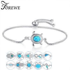 Azul Opal Hamsa Mão Infinito Tortoise Charm Bracelet para Cadeia Mulheres Moda Cor Prata Tênis pulseiras da amizade Jóias