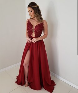 Sexy Burgundy Lace Prom Dresses Sheer Scoop Neck A Line Side Slit Chiffon Beaded Evening Formal Party Gowns Cheap