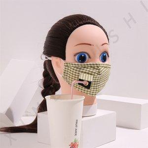 Masks Suction Face Tubes Reusable Plaid Cotton Fashion Mascarilla Can Put Filter Piece Washable Respirator Mens Women 5xl C2