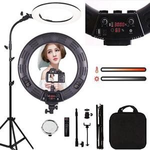 Lampe à anneau de 18 pouces LED Lampe vidéo Dimmable Dimmable 6000K Lampe de photographie avec trépied Beauty Light Studio Lampe photo pour la maquillage vidéo