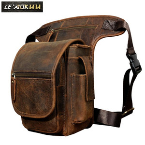 Quality Leather Men Design Casual Tablets Satchel Sling Bag Multifunction Fashion Travel Waist Belt Pack Leg Bag Male 3110