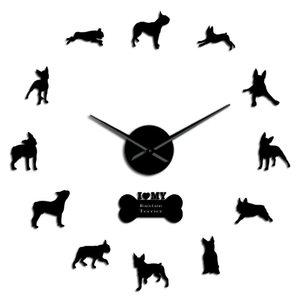 Bull Terrier Art große Wand Needle Terrier Zuhause-Wand-Breed Boston Big Hände Dekor-Wand Boston Uhr Giant Clock mit Hund Uhr MhHRo