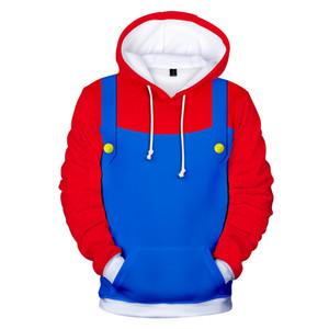 Fashion-Mario 3D 2018 New arrival Fashion Hoodies Sweatshirt Cool Cartoon Red and Blue Streetwear Popular Summer Men Women Hoodies