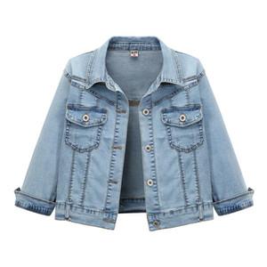 여름 새로운 2020 슬림 짧은 3/4 슬리브 여성 자켓 높은 허리 얇은 학생 데님 재킷
