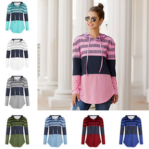 2020 Women Autumn Winter Blouses Hoodie Designers Clothes Long Sleeve Pullover Hooded Sweater Tops Loose Striped Patchwork T-shirt DHF1128