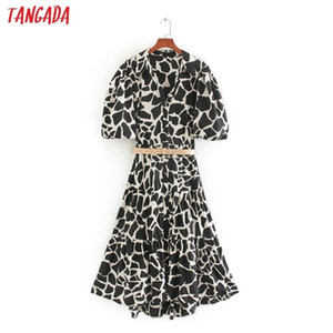 Tangada fashion women animal print mini dress with belt puff short sleeve ladies vintage short dress vestidos CE2550924