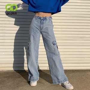 GOPLUS Jeans Mulher Carga Vintage Calças retas Mulheres Pockets Femme Baggy Mom Jeans Black White cintura alta Taille Haute