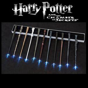 Fontes Harry Potter LED Magic Wand Cosplay incandescência Magic Wand Iluminação Harry Potter com Box partido do presente Ocean Shipping HHA1574
