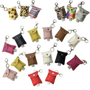 60ml Portable Hand Sanitizer Gel Bottle With Holster Keychain Sub-Bottle Travel Refillable Plastic Alcohol Hand Sanitizer Leather Pouch Bag
