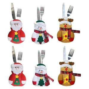 Christmas Cutlery Bag Dinner Tableware Holder Knife And Fork Bag Xmas Decoration Snowman Reindeer Holiday Ornaments