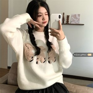 Silly Bears Women Sweater Knitted Jumper Pullover Top Autumn Winter Kawaii Pull Femme Jersey Mujer 0927