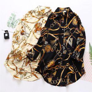 Loose Famale Shirt Womens Chiffon Sunscreen Shirt Summer Designer Print Long Sleeve Lapel Neck Fashion Clothing Casual