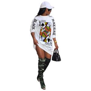 Конструкторы женщины одеваются моды покер Q Pattern Tshirt платье Повседневный Длинные рукава Природные цвета платье Женщины Одежда