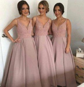 Charming V Neck Bridesmaid Dresses A Line Long Maid Of Honor Dresses for Wedding Party Custom Made