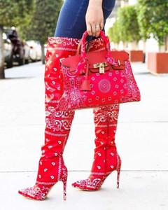 Горячая Середина-теленок сапоги 2020 Высокие каблуки сексуальные женщины над коленом сапоги осень женская обувь зима Toe Pumps Остроконечные Шелковый лодыжки Обувь Сумки