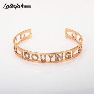 Lateefah Custom Name ID Bar Bracelet Gold Cubic Zirconl Initial Charm Bracelets For Women Personalize Jewelry Best Friends Gift