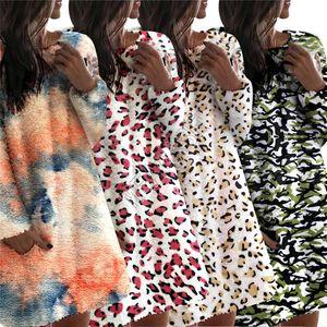 2020 Frauen Sherpa VliesHoodie Winter warm Plüsch-Kleid Pullover Tie-Dye Leopard Camouflage Overcoat Outwear Pyjamas Mutterschaft Tops d91401
