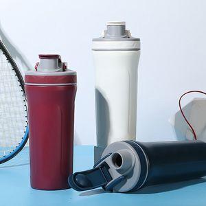 Radfahren Jogging GYM tragbare 800ml große Kapazitäts Zeit Marker Eiweiss-Pulver Shaker Dünnwandig Edelstahl Trinkflasche