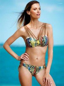 Famale Designer Bikini Ladies Print Gather Split Swimsuit Sexy Bandage Low Waist Briefs Women Bathing Suit
