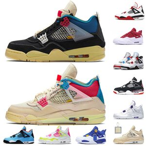 nike air jordan retro 4 4s Hot Unione di vendita 4 scarpe da basket per Womens Mens 4 off white 4S Sail Jumpman Fire Red SatinGiordaniaRetro Sneakers Trainers 13
