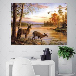 Picture animal canvas painting Wall art the forest two deers posters and prints home decoration painting art print on canvas
