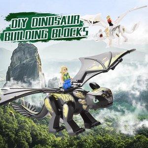 Jouets Assembly Kids Boy Dinosaur Dragon Nouvellety Action Dinosaures Simulée Figurines Morde Doll Briques Bâtiment Bricolage Blocs Puzzle Slgsn