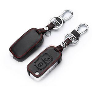 2 Button Remote Fob Bag Holder Leather Car Key Cover Case For Mercedes Benz SLK