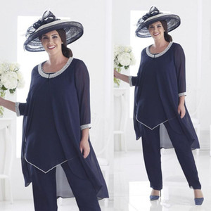 Navy Blue Three Pieces Mother of the Bride Pant Suit Jewel Neck Pearls Chiffon Outfit Plus Size Wedding Guest Dress