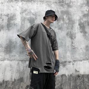 Tear Womens Short Sleeve Tops Summer Mens Holes T shirts Mens Designer Tshirt Street Hiphop Style