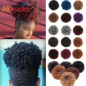 Clip AliLeader naturale Nel Afro Chignon Blu Viola Jet Black sintetico riccio crespo Puff Coda di cavallo con coulisse di estensione per le donne