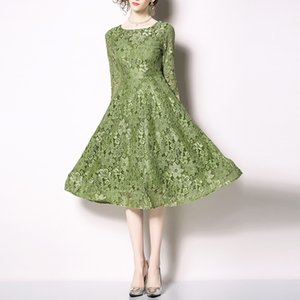 Green Hook flower lace hollow out o neck 3 4 sleeve zipper midi dress elegant party autumn D1737