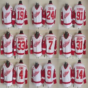 Detroit Red Wings CCM Vintage maglie 31 Curtis Joseph 33 Kris Draper 9 Gordie Howe 19 Steve Yzerman 24 Chris Chelios Hockey maglie