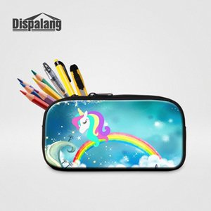 3D Printing Unicorn With Rainbow Pencil Case For Boys Girls Mini Zipper Pen Bag Box Women High Quality Cosmetic Cases Makeup Bag pLhS#